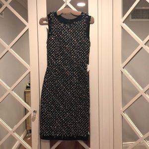 Oscar De La Renta Brand New Tweed Navy Dress